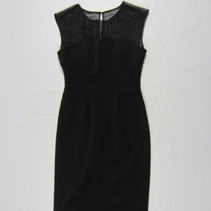 Calvin Klein Black Illusion Mesh Panel Yoke Dress